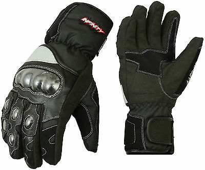 Infinity Leather Thermal Motorbike Waterproof Gloves Carbon Knuckle Protection