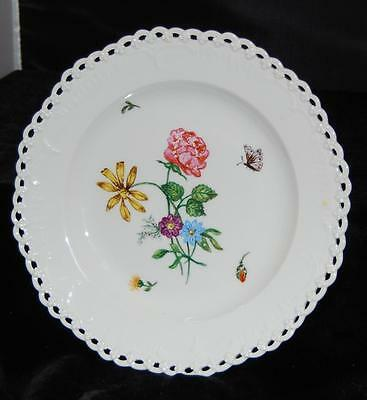 """KPM Berlin Porcelain Reticulated Red & Yellow Floral Cabinet Plate-8.5""""D-Sceptre"""
