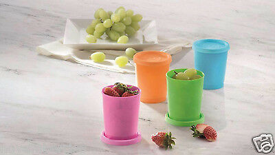 Tupperware Pretty Pastel Snack Cup with Lid 180ml (4) On The Go NEW Free Postage
