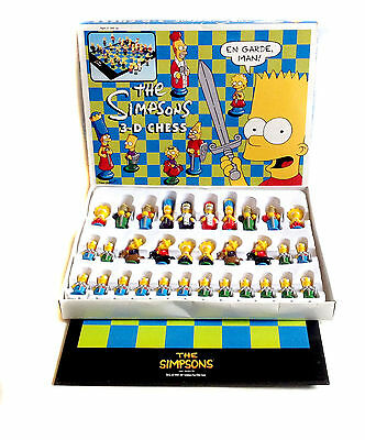 Matt Groeing Cartoon THE SIMPSONS CHESS set complete with Figures, Board & box