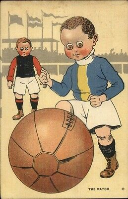 Boys Playing Soccer Football THE MATCH - Great Art Netherlands Postcard 1920