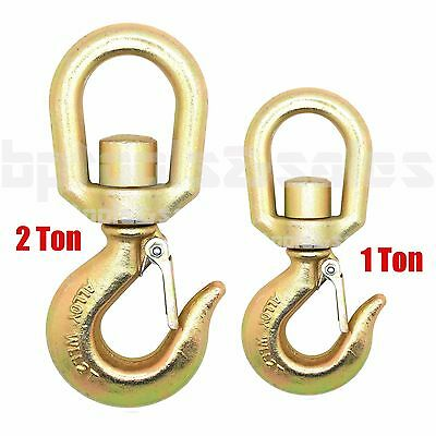 1 Ton & 2 Ton Heavy Duty Drop Forged Carbon Steel Swivel Eye Hook w/ Latch G70