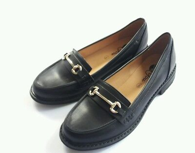 Womens Ladies Black Loafers with Chain Detail /Shoes Size uk 5 NEW!-