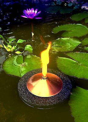 "Floating Citronella Tiki Torch-Brass 9""-koi-ponds/pools-water gardens-night fire"