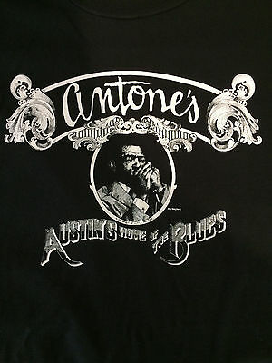 "New ANTONE'S ""Austin's Home Of The Blues"" T-Shirt Black w/ White Ink S-2XL"