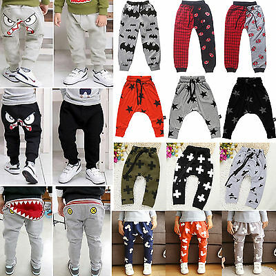 Cute Kids Boys Girls Baby Harem Pants Casual Jogger Trousers Bottoms Sweatpants