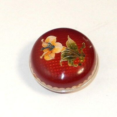 Small Cloisonne Ginbari Pigeon Blood Red Enamel Floral Design Trinket Box