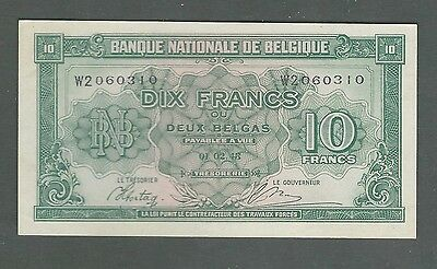 1943 Belgium 10 Francs-2 Belgas Banque Nationale de Belgique Pick 122