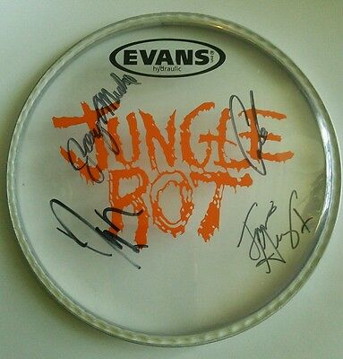 Sweet! JUNGLE ROT Signed Autographed Drumhead Awesome! Logo & All