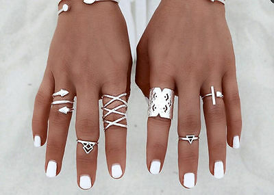 8pcs Fashion Punk Vintage Ring Womens Retro Silver Finger Rings Set Boho Style