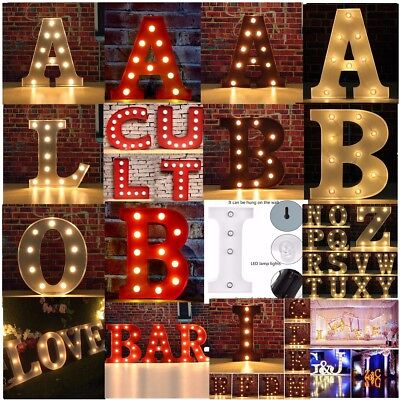 LED Marquee Letter Lights Vintage Alphabet Circus Style Light Up Sign 12'' & 9''