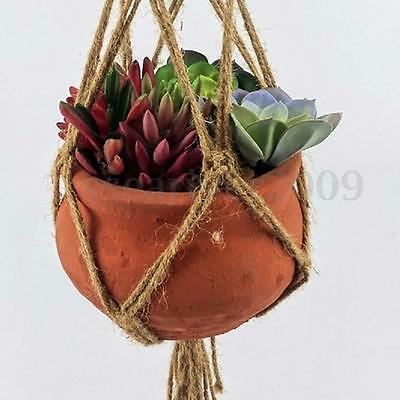 104cm Handcrafted Braided Macrame Jute Cord Plant Basket Pots Holder Hanging