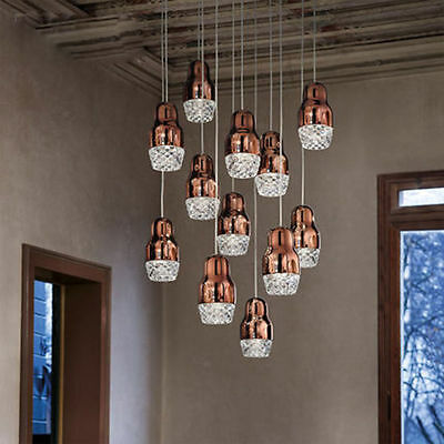 3 Colors Vintage Industrial Glass Light Chandelier Loft Ceiling Lamp Droplight