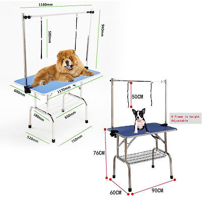 "36""/44"" Portable Foldable Pet Dog Grooming Table Adjustable Arm Non Slip Surface"