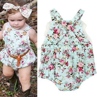 Toddler Baby Girls Floral Headband+Bodysuit Romper Jumpsuit Outfits Clothes