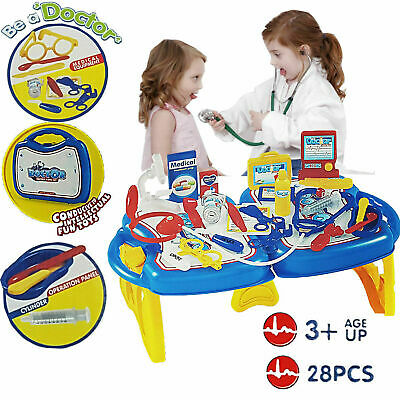 Kids Doctor Nurse Pretend Play Accessory Kit Folding Table Toys Xmas Gift Set