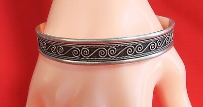 Vintage 925 Sterling Silver Patterned Cuff Bangle