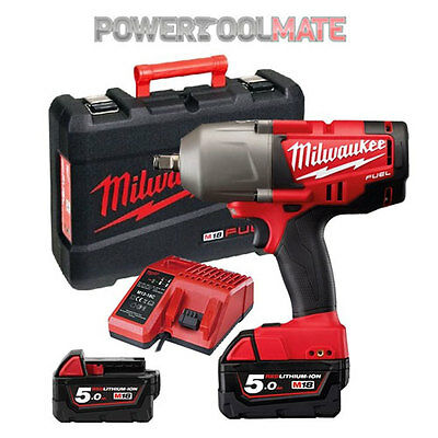Milwaukee M18CHIWF34-502X 18v High Torque Impact Wrench - c/w 2x 5.0ah Batteries