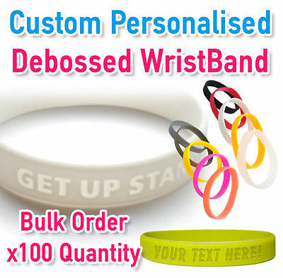 Custom Personalised Wristband Silicon Debossed 2mm x100 - Create your own