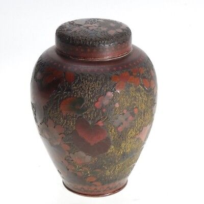 Antique Japanese Tree Bark Cloisonne Totai Shippo Covered Jar/tea Caddy