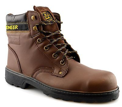 Mens New Leather Safety Steel Toe Cap Lace Up Ankle Work Boots Shoes Size 6-13