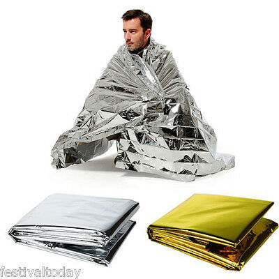 Foil Space Blanket Emergency Survival Blanket Thermal Rescue First Aid Two Color