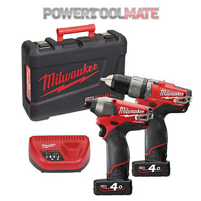 Milwaukee M12PP2A-402C 12v Fuel Hammer Drill & Impact Driver w/ 4.0ah Batteries