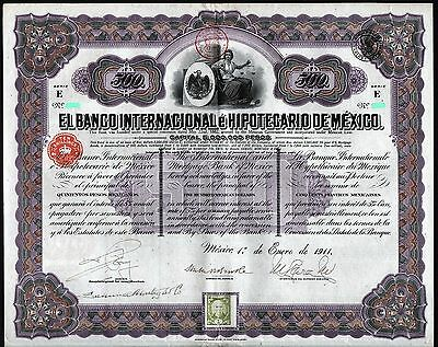 1911 El Banco Internacional e Hipotecario de Mexico - $500 uncancelled & coupons