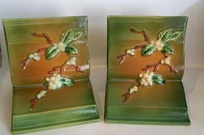 1946, ORIGINAL Roseville Pottery, Green Snowberry Bookends U.S.A.