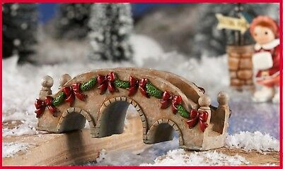 Miniature Dollhouse CHRISTMAS FAIRY GARDEN Victorian Village Bridge Figurine 720