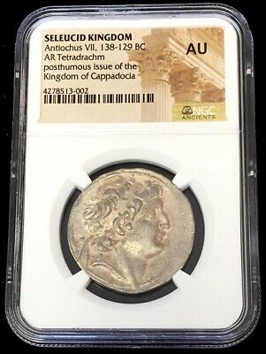 138 - 129 Bc Silver Seleucid Tetradrachm Antiochus Vii Ngc About Uncirculated