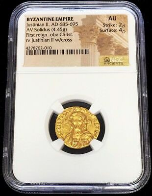 685-695 Ad Gold Byzantine Justinian Ii Av Solidus Christ Pantocrator Coin Ngc Au