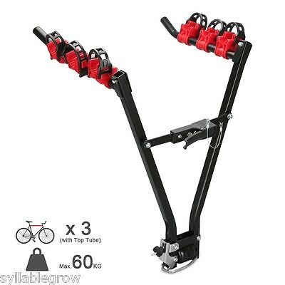 3 Bicycle Rear Mounted Car Mount Cycle Carrier Hatchback Bike Foldable Rack NEW