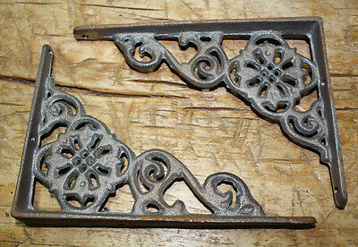 2 Cast Iron Antique Style Web  Brackets, Garden Braces Shelf Bracket No Paint