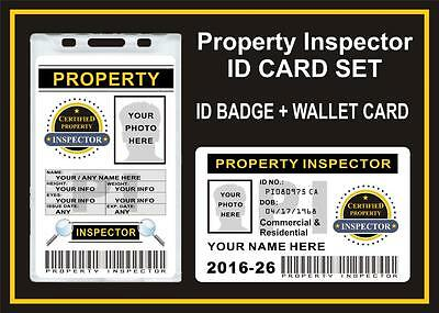 PROPERTY / HOME INSPECTOR ID BADGE SET - Custom w your Info & Photo  HOLOGRAPHIC
