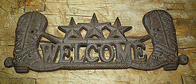 Cast Iron STAR WELCOME Cowboy Boots Plaque Sign Rustic Ranch Wall Decor Longhorn