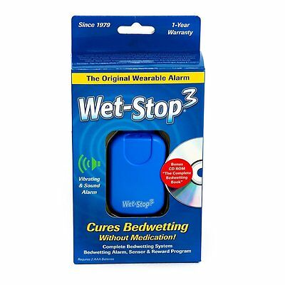 Wet-Stop3 Bedwetting (Enuresis) Alarm System (Blue) with Sound and Vibration