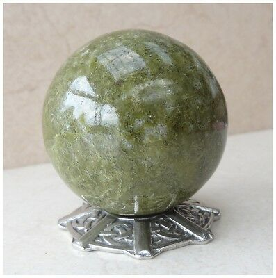 NATURAL GRASS JASPER Crystal Gemstone SPHERE BALL ~ 167 Grams + PEWTER STAND