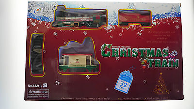 CHRISTMAS TOY TRAIN SET 32 Pieces 88cmx66cm TRACK STATION & TREES 4 XMAS TREE