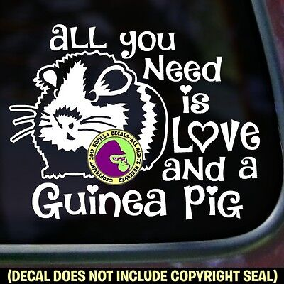 ALL YOU NEED IS LOVE GUINEA PIG Vinyl Decal Sticker Cavy Breed Car Window Sign