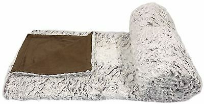 Wolf Faux Fur White Brown Supersoft Fleece Throw Blanket 150X200Cm