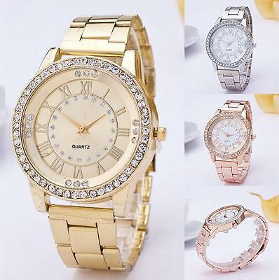 Stainless Steel Bracelet Wrist Watchs Analog Quartz Women Crystal Rhinestone