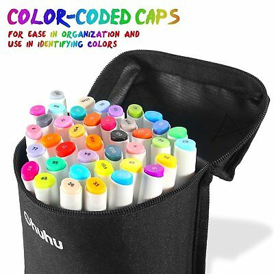 Ohuhu 40 Colors Dual Tips Art Sketch Twin Marker Pens for Painting & Carry Bag
