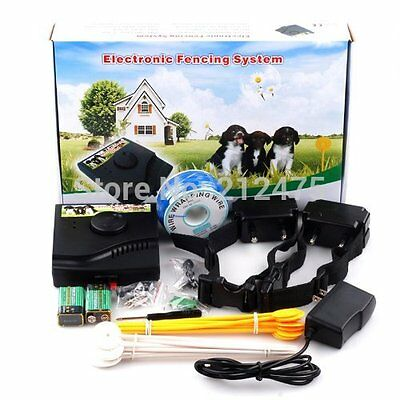 Waterproof 2-Dogs Electronic Hidden Dog Fence Fencing System Electric Collar