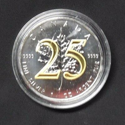 2013 1 Oz Ounce Silver Coin 25th Anniversary Maple Leaf 24K Gold Gilded .9999