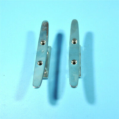 """Stainless Steel Flat Top Low Silhouette Boat Cleat 8"""" 2 Hole Mount"""