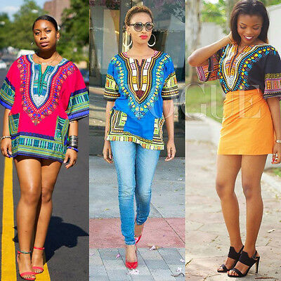 US STOCK! Women African Print Dashiki Dress Shirt Boho Hippie Gypsy Party Tops