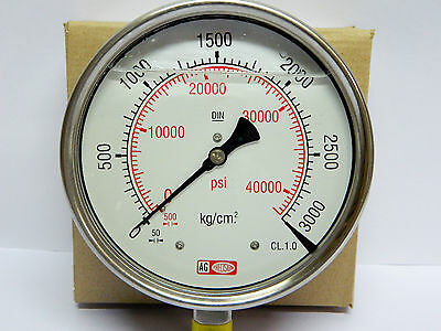 High Pressure Gauge 3000 BAR / 42500 PSI,GLY filled,SS Body- Common Rail Appl.