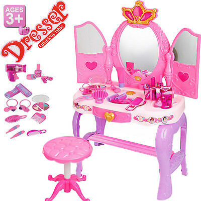 Kids Princess Glamour Dressing Mirror Table Girls Toy Set  Makeup Vanity Childre