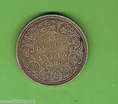 1885  British  India  One Rupee  Silver  Coin